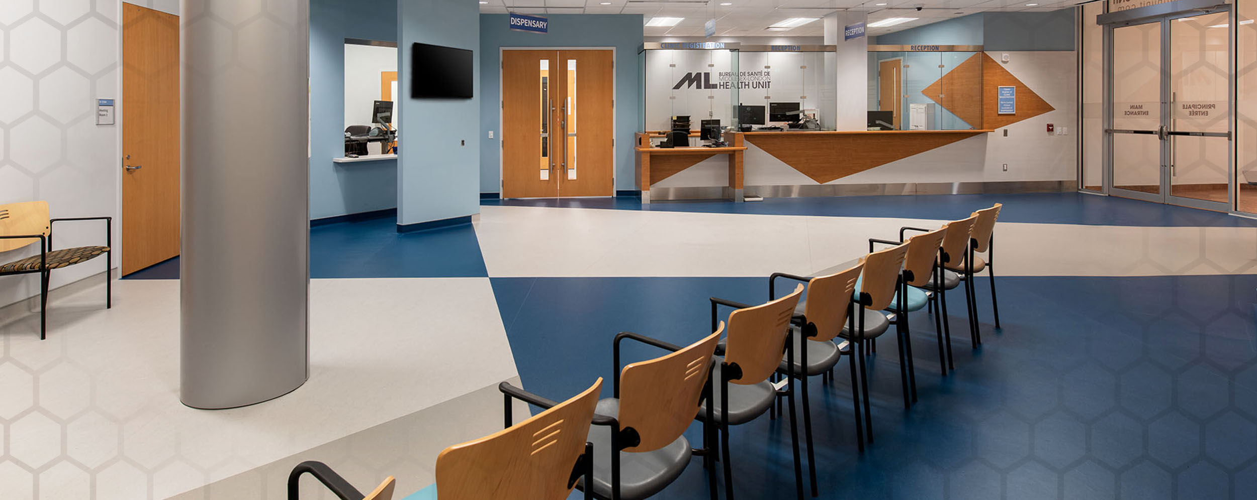 Middlesex London Health Unit, showing open floor plan for Reception area with chairs for patients to wait in.