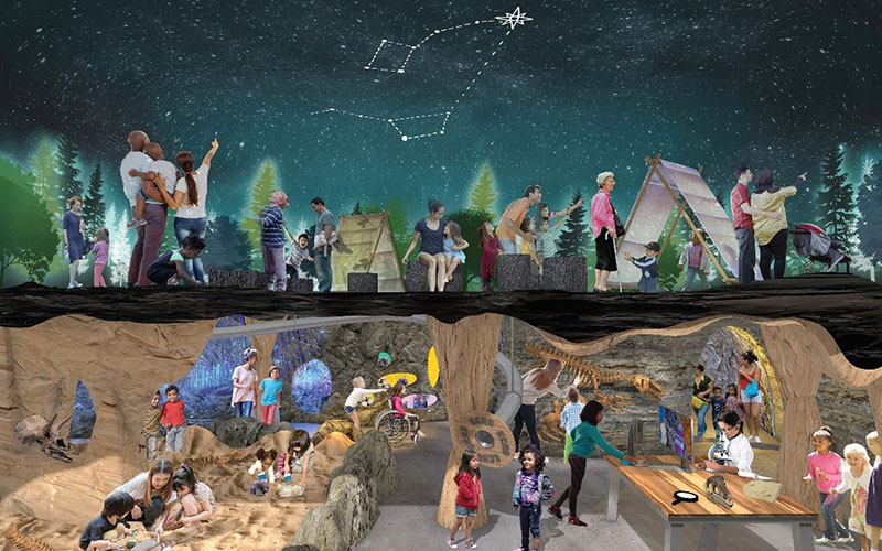 Children playing and looking at fossils and also looking up at night sky at the constellations