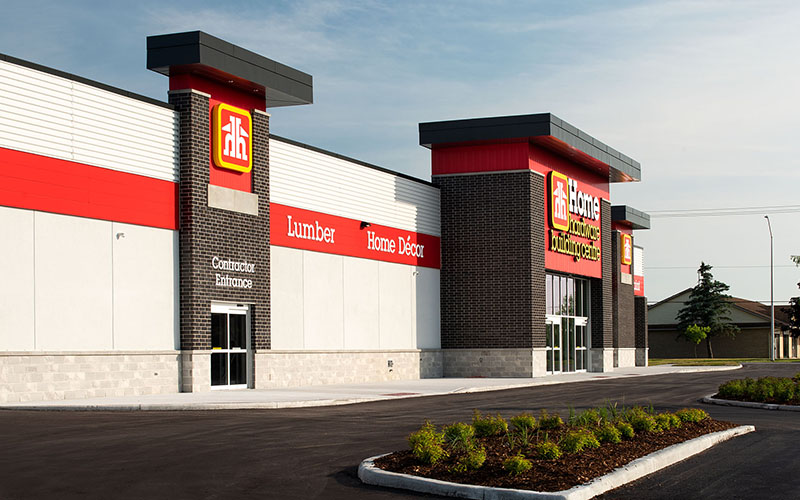 Exterior of Home Hardware showing the two entrances and the Home Hardware Logo.