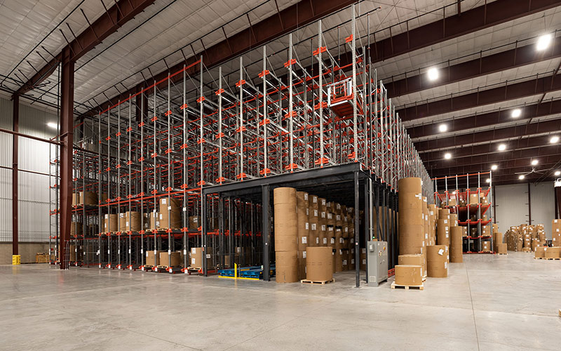 Logistics Hub, interior showing floor to ceiling racks for storage