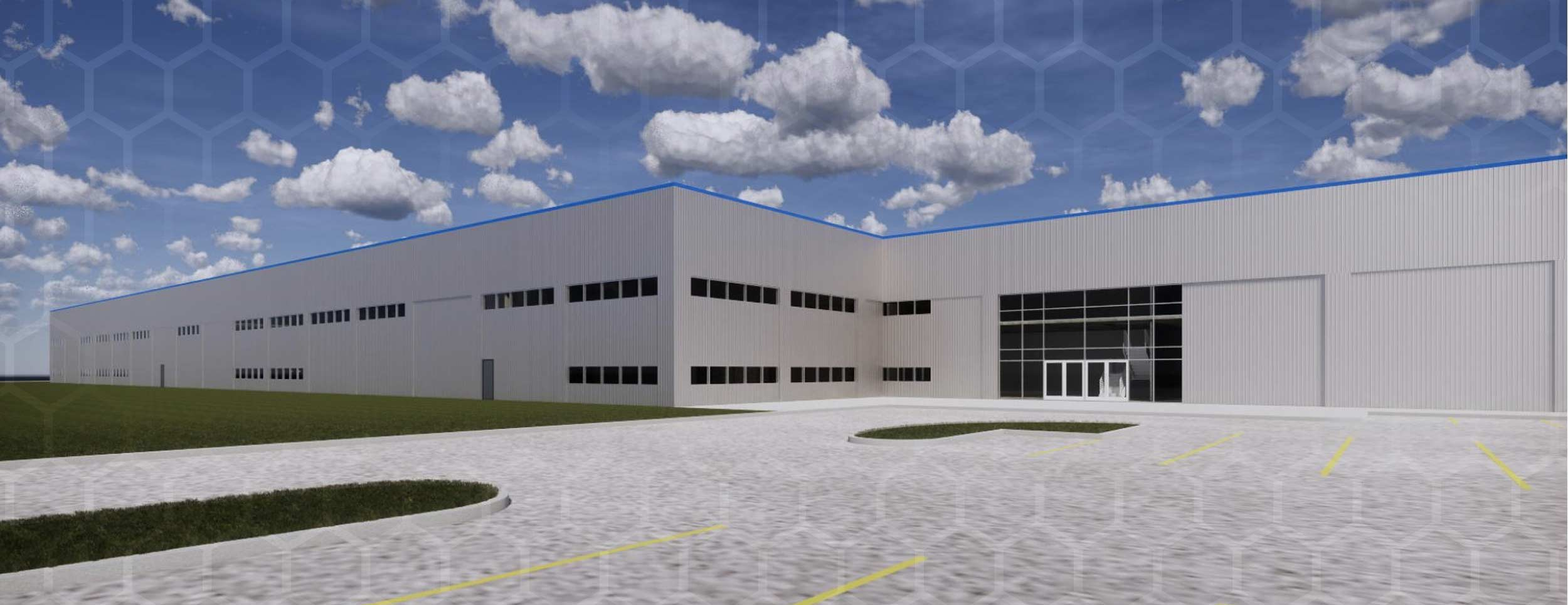 CanUSA Exterior photo of their warehouse and office building that has white steel walls and windows around the corner for 1st and second floor offices.
