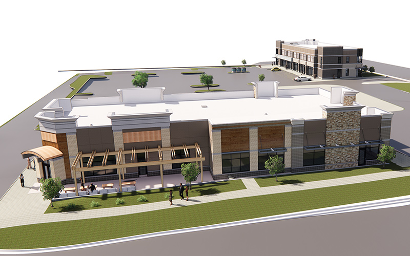 Exterior rendering view of Wellington Commons View is looking down on the building so you see the white flat roof top and the parking lots around it. Grass along the edge of the road.