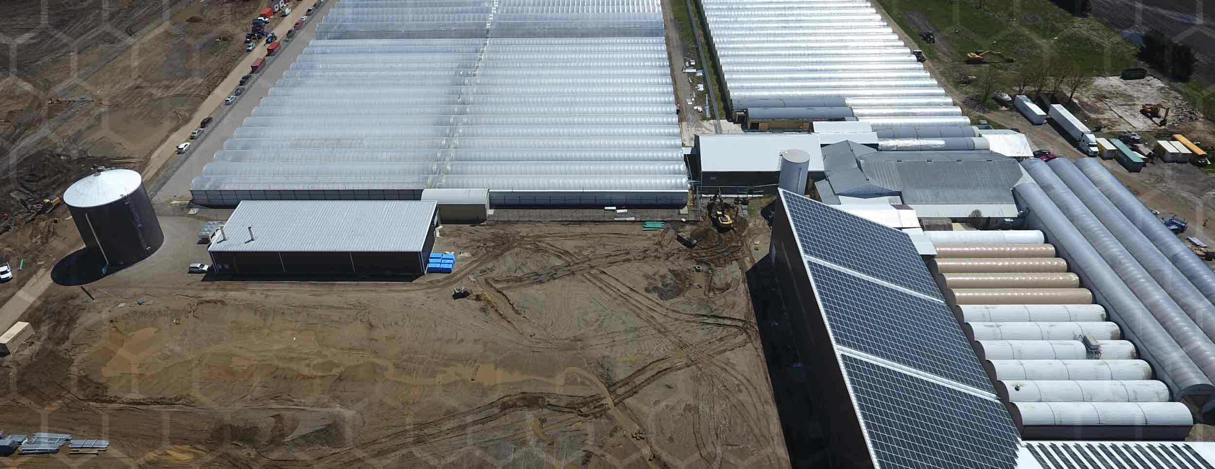 Overhead Aerial View of the WeedMD Facility, large Greenhouse operation