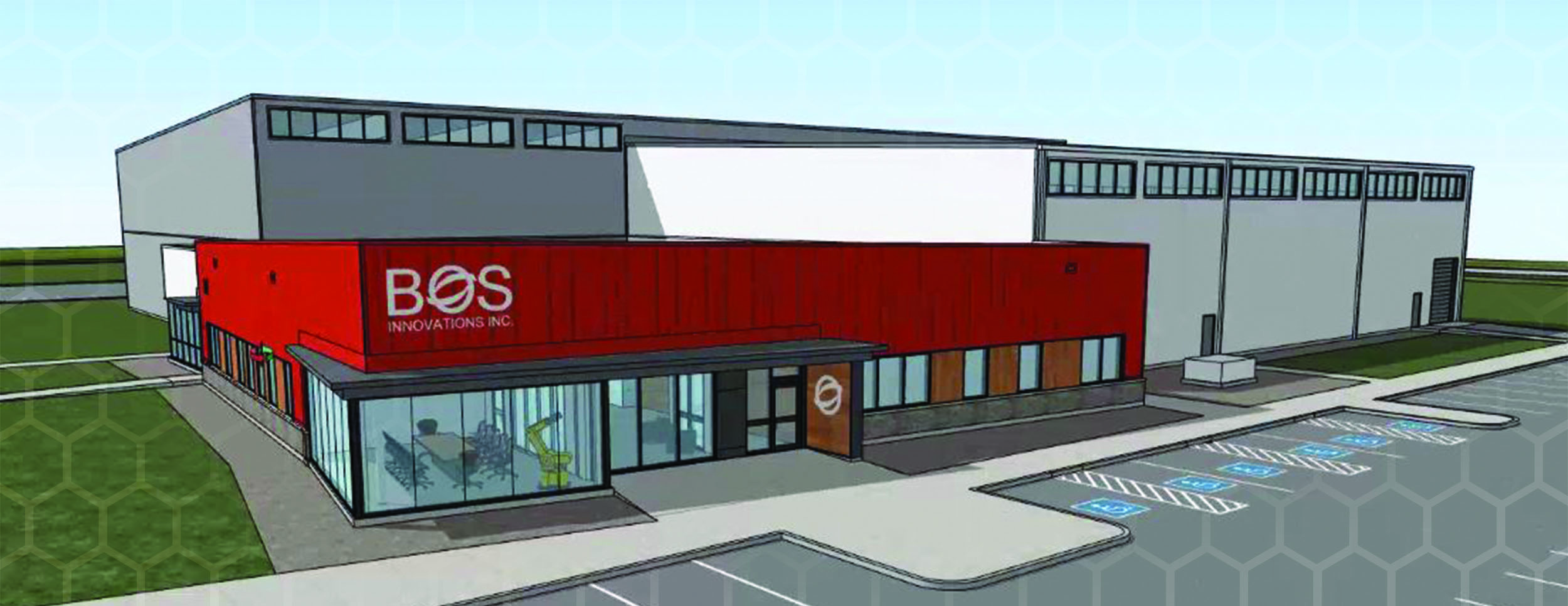 Exterior Rendering of the new BOS Innovation Large Industrial Facility. Front of Building is one storey with floor to ceiling glass and a red facade around the top roof line of the building. You can see the rest of the plant in the background which is 2 stories high.