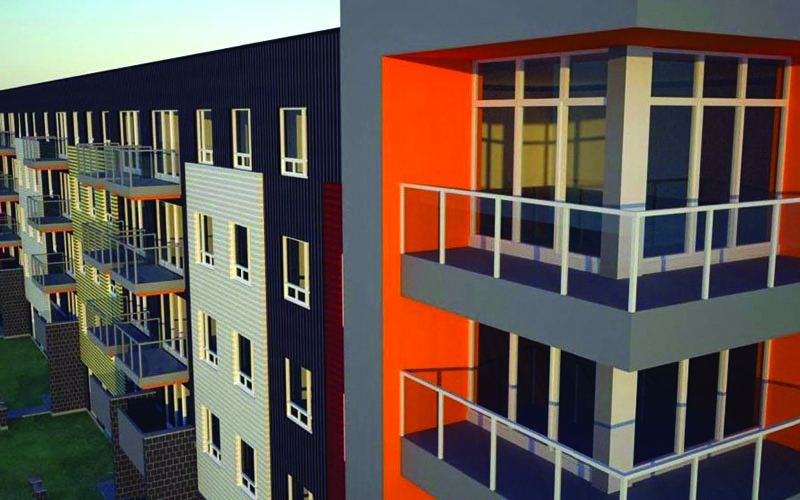 Rendering of the Corner of the 5 Story Residential Building showing the balconies for each unit. Balconies have glass panels as railings and floor to ceiling Windows for the units