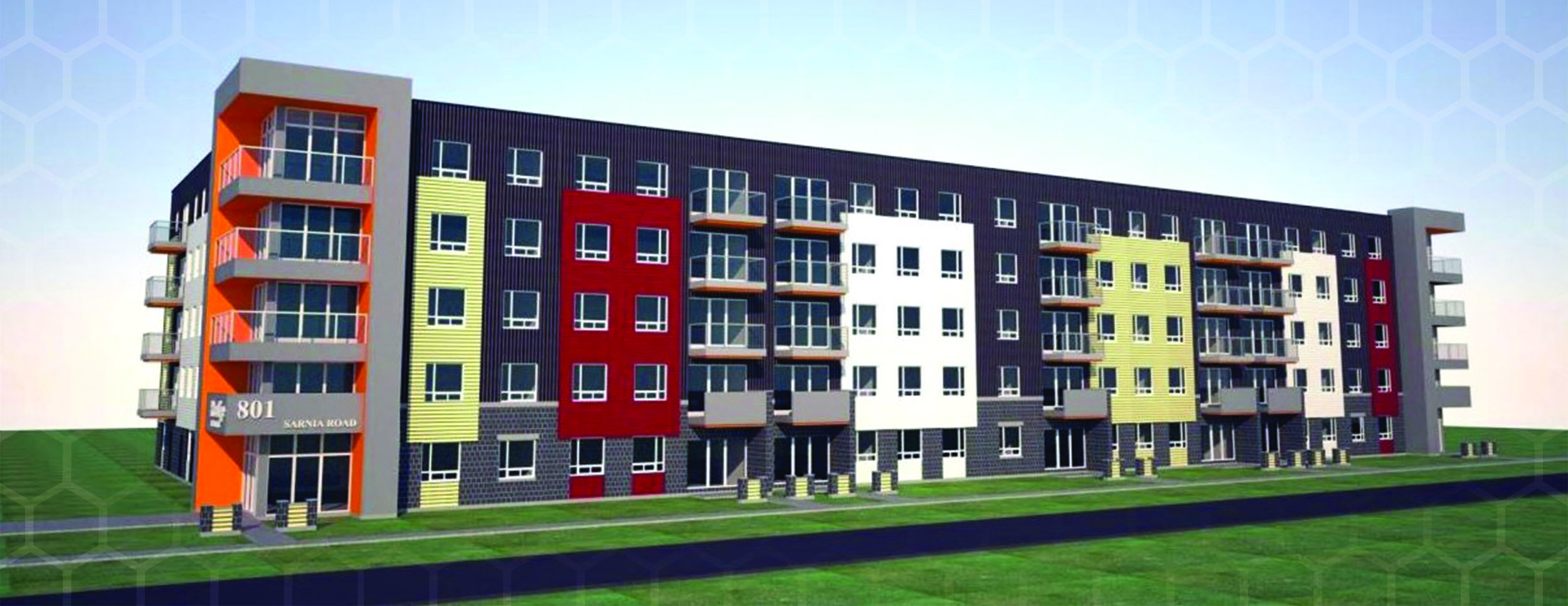 Exterior Rendering of a 5 Storey, 72 unit Apartment Building with balconies off the corner for each floor corner apartment and gray overall color, that has segments of red, white, and yellow