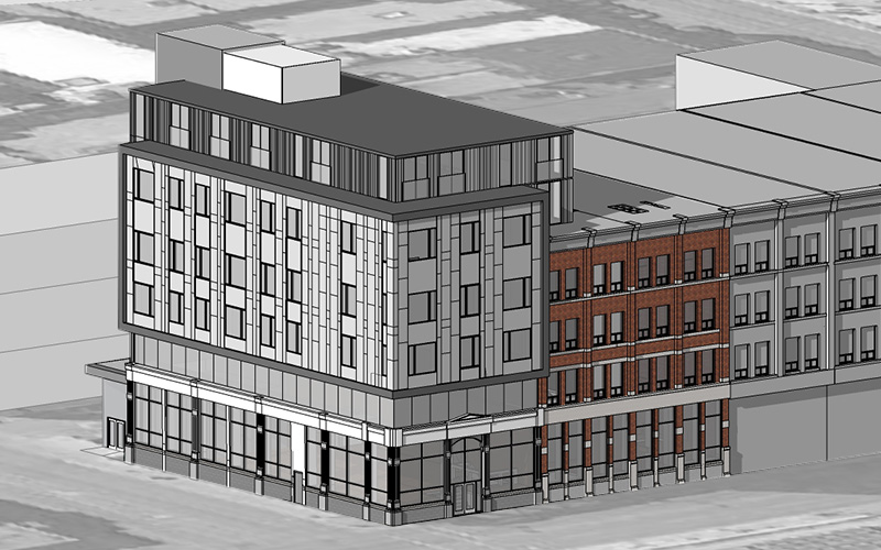 Exterior Rendering of the Youth Opportunities Unlimited Multiuse building showing the stone work for facade and windows stacked 2 high. Colors of Grey and Red Brick