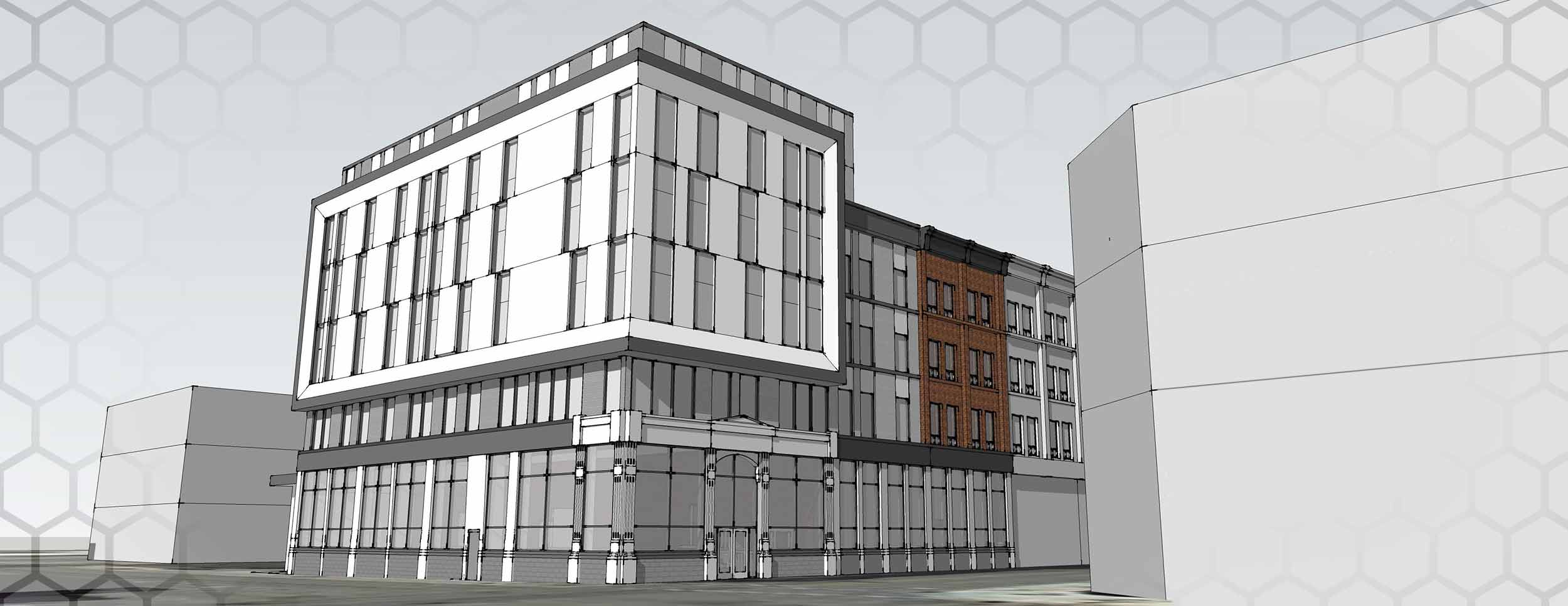 Exterior Rendering of a Heritage Building for Youth Opportunities Unlimitd. It is a multistorey building with grey and red stone exterior.