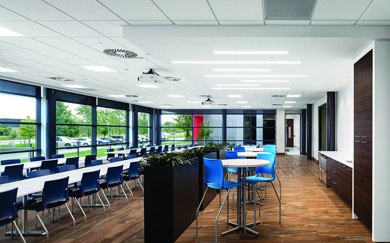 Starlim lunch room, all glass walls, floor to ceiling with long white tables with purple chairs and a dark wood flooring.